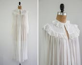 vintage 1910s edwardian chiffon robe | sheer victorian robe | white bridal robe dressing gown