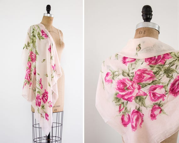 vintage 1950s rose scarf | pink chiffon scarf | floral scarf