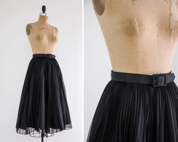 vintage 1950s skirt | black pleated circle skirt | full midi skirt with crinoline slip | 50s swing skirt