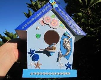 "My New Summer Collection! BIRDHOUSE & SUNCATCHER w. Swarovski Crystal pendulum: ""Blue OCEAN""!"
