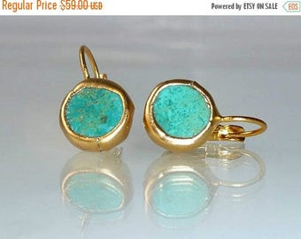 SUMMER SALE- Turquoise earrings, simple everyday, ocean jewelry,framed stone, Gold post fashion earrings.