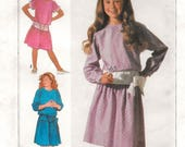 "A Yoked Skirt, Drop Waistline, Kimono Sleeve Pullover Dress Pattern for Girls: Uncut - Sizes 7-8-10, Breast 26"" - 28-1/2"" • Simplicity 7242"