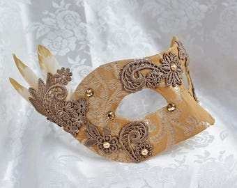 Gold Tapestry Masquerade Mask, Gold Mustard Jacquard Brocade Masquerade Mask with Gold Venise Lace