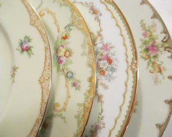 Vintage Mismatched China Dinner Plates for Dinner Party, Wedding Plates, Wedding,Bridal Luncheon,Showers,Hostess Gift -Set of 4