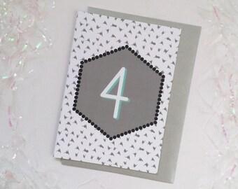 4th Birthday Card, Modern Birthday Card, Card for Child's Birthday, Child's Birthday Card