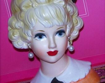 Stunning Relpo Lark Large 7 Vintage Headvase  Head vase Pop Orange Dress Blonde Bouffant Hair Curio Preservation