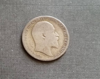 Antique 1903 Silver Sixpence Coin - Old British Sterling Silver