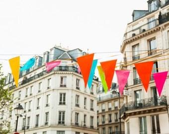 Paris Photography Print - Flags in the Marais - Paris Wall Art - Colorful Photography Print - Nursery Gallery Wall