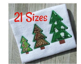Christmas Tree Applique, Christmas embroidery design, 21 sizes, holiday embroidery, machine embroidery