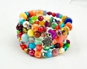 RESERVED for Jamie Flower Child Memory Wire Beaded Cuff Bracelet
