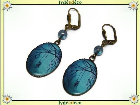 Earrings retro vintage tree girl swing blue black resin bronze beads glass pendants 18x25mm