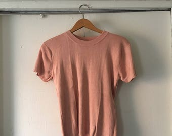 Peach pink silk sweater top