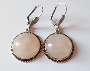 Rose quartz cabochons Silver earrings