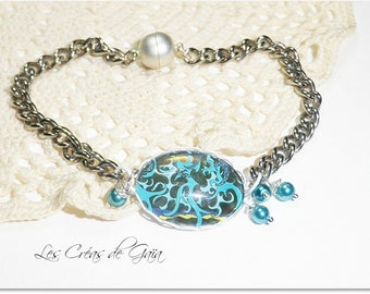 Bracelet laminar • photography • Metal and glass cabochon, graphic design • exclusive ETSY