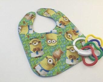 Baby Bib, Minions Fabric, Minion Baby Bib,  Double sided bib, Baby Gift, Shower Gift, Baby Feeding, Minions Gift, Handmade Bib