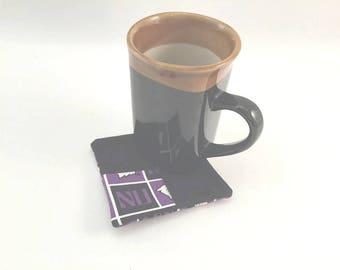 Northwestern Coaster, Wildcat Coaster Set, Illinois U Mug Rugs, Purple and Black, Fabric Coaster Set, Handmade Coasters, Northwestern U