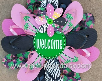 "Beautiful Tropical ""Welcome"" Flip Flop Wreath Wall Door Decor Beach Ocean Unique Gift"