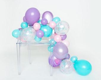 Balloon Garland Kit - Cotton Candy - Pastel Pink, Aqua, Lilac, Marble Balloon Garland - Mermaid Party Balloons