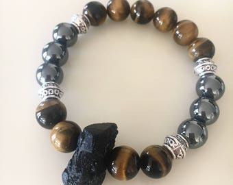 Raw Black Tourmaline Stretch Bracelet, Tiger Eye Bracelet, Hematite Stone Bracelet, Natural Stone Jewelry, Metaphysical Protection