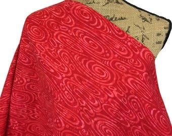 Batik Fabric--Hand Dyed Fabric--Tie Dye--Indonesian Batik Fabric--Cherry Red Sunset--Spiral Swirls--Indonesian Batik Fabric by the HALF YARD