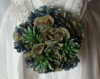 Bluesy Green Succulent and Rose Bride or Bridesmaid Wedding Bouquet