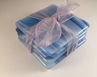 Blue swirl fused glass coasters (set of 4)