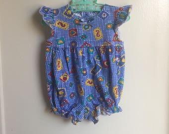 VTG Target Circo Baby Girl Bubble Romper Sz 6-12M Blue Summer Yellow