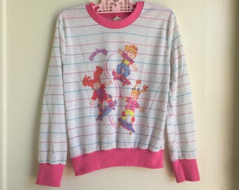 Vintage Cabbage Patch Kids Shirt Pink Striped Sz 4-5Y
