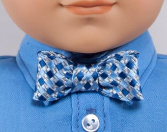 "Blue and Silver Bow Tie for 18"" dolls - pre-tied with a snap closure.  Boy doll dress clothes acessories."