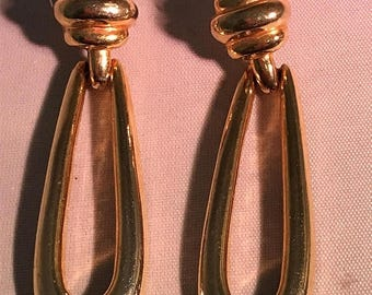 ON SALE Vintage Goldtone Doorknocker Earrings Teardrop Chunky Pierced Marked Costume Jewelry Read