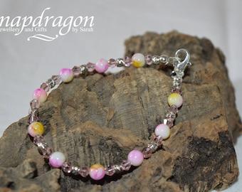 Delicate sparkly pink beaded bracelet