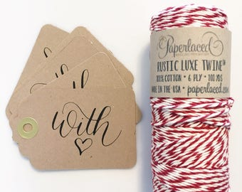 Black Friday Special, calligraphy gift tags and cotton twine, gift wrap, christmas wrap, kraft tags, calligraphy gift, with love