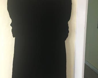 1930s 1940s Black Silk Velvet Dress with Ruched Sleeves L Large