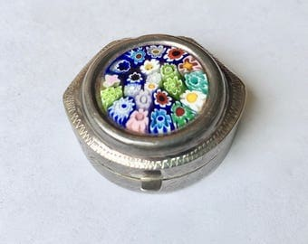 vintage sterling and millefiore glass pill box