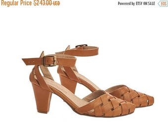 ON SALE Brown heeled Sandals with a side buckle, Caramel brown, Rose, handmade leather sandals