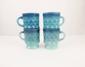 Four, Ombre Blue, Pineapple/Kimberly Pattern, Fire-King Mugs - Kitchen or RV - Hot Coffee - Camping - Retro Kitchen - Collectible