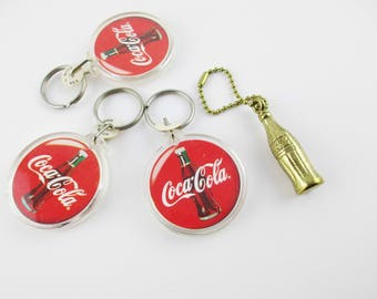 Coke Keychains - 'Coca Cola' Key Chains - Red Discs and Small brass Coke Bottle  - Coke Miniatures