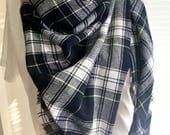 Oversized blanket scarf, tartan blanket scarf, plaid flannel blanket scarf, navy green plaid blanket scarf, navy flannel plaid, g
