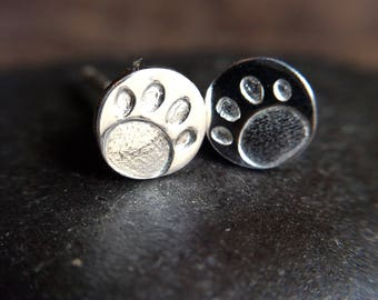 Silver Stud Earrings with Paw Prints - Perfect Stamped Jewelry for Her