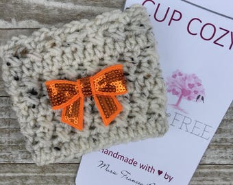 Pumpkin Bow Cup Cozy, Fall Cup Cozy, Coffee Cozy, Autumn, Bow Cup Cozy, Cup Cozy