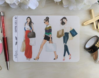 Shopping Girls #2, Planner Stickers,