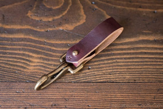 Key belt lanyard / keychain Horween Chromexcel leather - J-hook, bugundy / antiqued brass