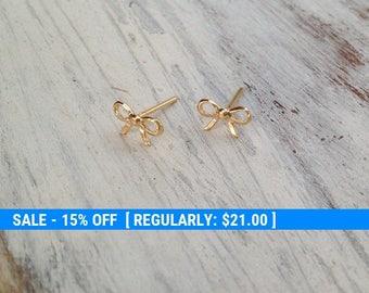Gold earrings, stud earrings, bow earrings, gold filled stud earrings, petite earrings, gold studs, everyday earrings -4401