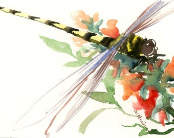 watercolro art dragonfly artwork, one of a kind original watercolor small painting, 7 X 5 in