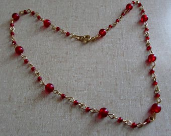 Vintage Necklace, Red Beaded & Gold Chocker, 15 inches, EUC ~ BreezyTownship.etsy.com