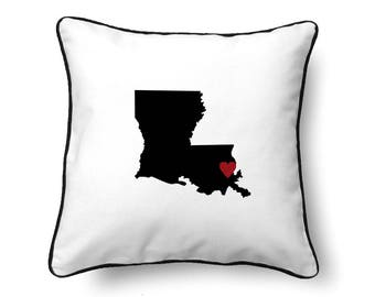 Louisiana Pillow  - Louisiana Gift - Louisiana Map - LA State Map