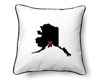 Alaska Pillow - Alaska Gift -  Alaska Map - AK State Map