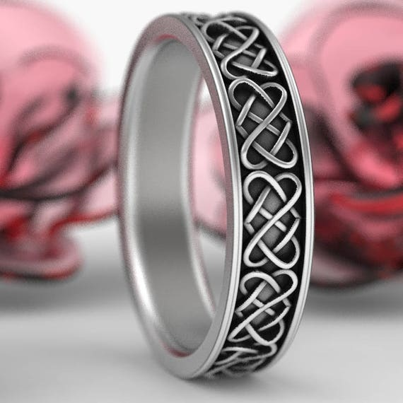 Celtic Heart Ring, Sterling Silver Celtic Wedding Band, Celtic Knot Ring, Unique Wedding Band, Custom Made in Your Size CR-1165