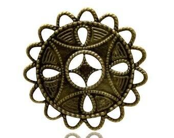 5 beautiful round prints of 3.7 cm (very thin metal) filigree bronze color