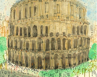 ROME COLOSSEUM, Italy Art Print, Rome Wall Art, 8 x 10 inch, Watercolor Sketch, Italy Rome Wall Art, Rome Illustration, The Colosseum Rome